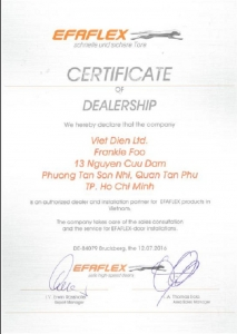 CERTIFICATE OF DEALERSHIP IN VIET NAM